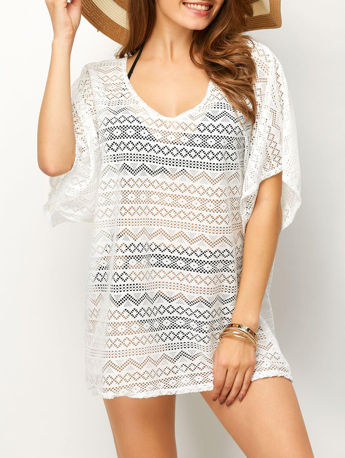 Affordable Backless Mesh Beach Tunic Cover Up