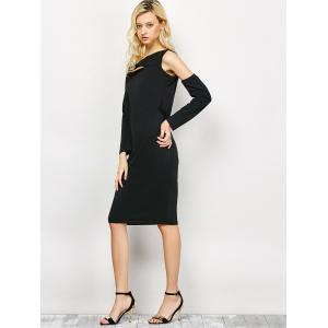 Chest Cut Out Cold Shoulder Dress - BLACK XL