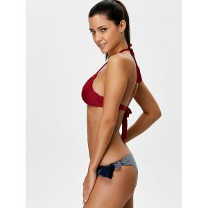 Tie Side Halter Bikini Set - COLORMIX XL