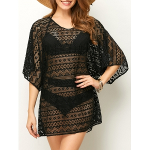 Openwork See Thru Beach Tunic Cover Up - Black - One Size