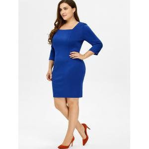 Plus Size Square Collar Fitted Dress - ROYAL 5XL