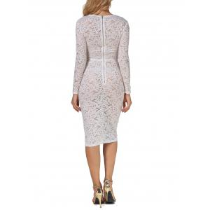 Sheer Lace Floral Bodycon Long Sleeve Dress - WHITE L