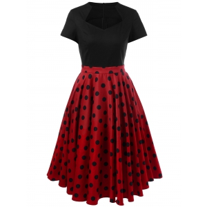 Polka Dot Two Tone Dress
