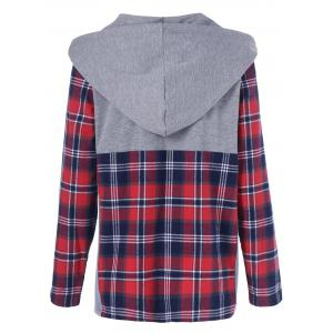 Plaid Trim Button Up Hoodie - GRAY AND RED M