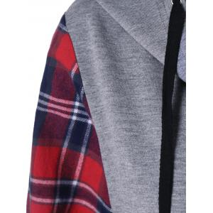 Plaid Trim Button Up Hoodie - GRAY/RED M