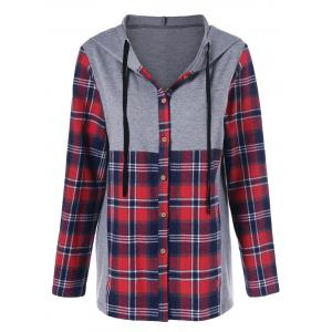 Plaid Trim Button Up Hoodie