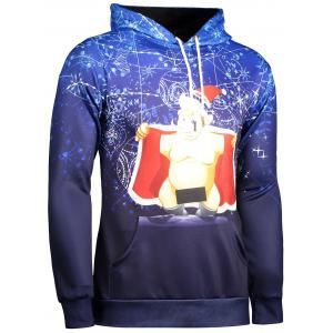 Long Sleeve Funny Christmas Patterned Hoodies - BLUE 3XL