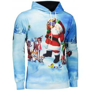 3D Print Pullover Christmas Patterned Hoodies - BLUE 3XL