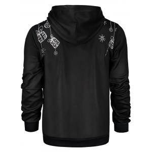Deer Print Pocket Front Christmas Black Hoodie Mens -