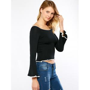 Boat Neck Bell Sleeve Ribbed Sweater -