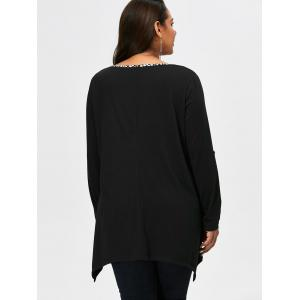 Plus Size Printed Trim Asymmetrical T-Shirt - BLACK XL