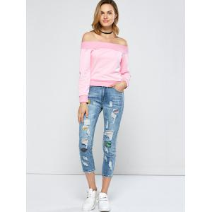 Patched Capri Distressed Jeans Outfits - LIGHT BLUE 26