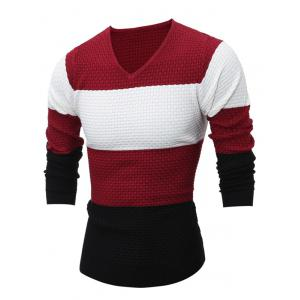 Textured V Neck Color Block Sweater - Red - M