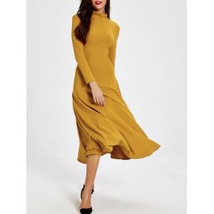 High Neck Long Sleeve Backless Dress