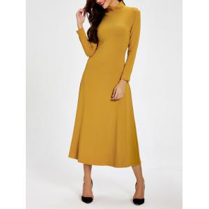 High Neck Long Sleeve Backless Dress - DEEP YELLOW M
