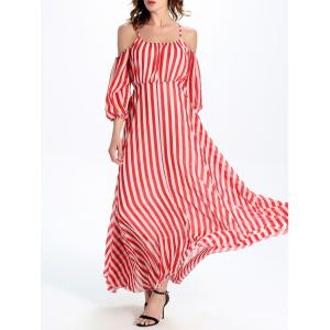 Cold Shoulder Cami Vertical Striped Maxi Dress -