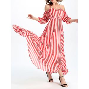 Cold Shoulder Cami Vertical Striped Maxi Dress