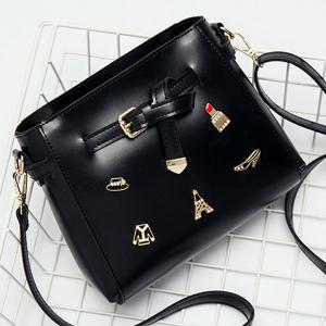 Metal Badges Buckle Strap Crossbody Bag
