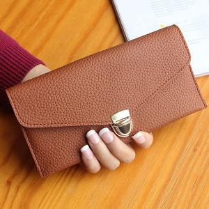 Textured PU Leather Envelope Long Wallet - Brown