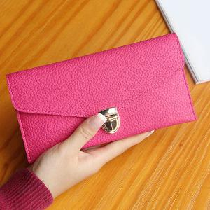 Textured PU Leather Envelope Long Wallet - ROSE RED