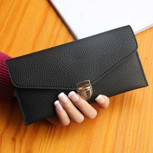 Textured PU Leather Envelope Long Wallet - Black