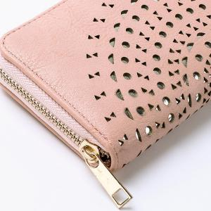 Cut Out Zip Around Wallet - PINK