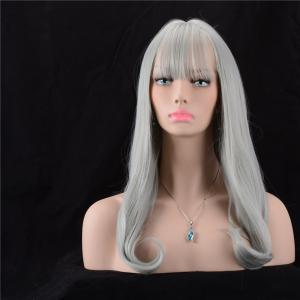 Long Fluffy Full Bang Slightly Curled Synthetic Wig -