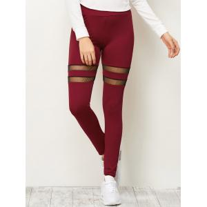 High Waist Mesh Insert Running Leggings - Deep Red - S
