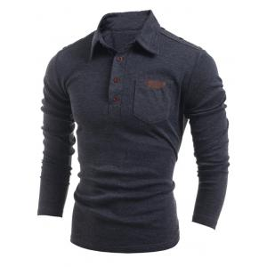 Buttoned Long Sleeve Pocket T-Shirt - Deep Gray - M