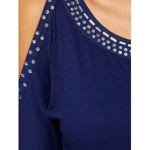 Cold Shoulder Cut Out Beaded T-Shirt -