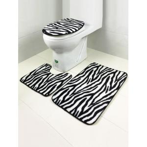 Stripe Pattern Coral Fleece Antislip Bath Rug and Mats Sets - Black White - W16 Inch * L47 Inch