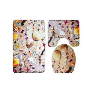 Sea Starfish Antislip 3Pcs Toilet Lid Cover and Bath Mats - COLORMIX