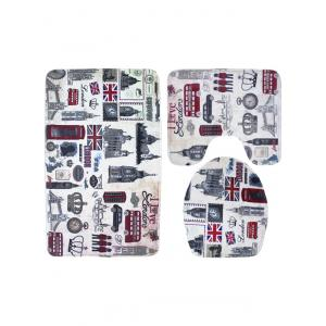 3PCS London Life Bath Rug and Mats Sets -