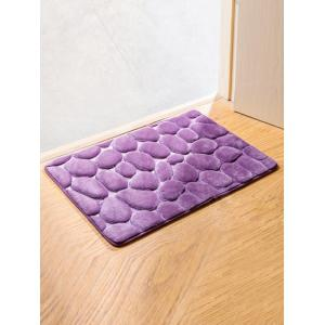 Cobblestone Coral Fleece Antislip Bathroom Entrance Carpeting - Purple - Xl