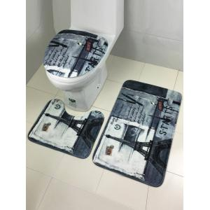 3Pcs Retro Tower Antislip Bath and Toilet Mats Set