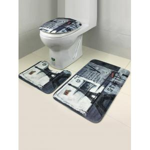 3Pcs Retro Tower Antislip Bath and Toilet Mats Set -