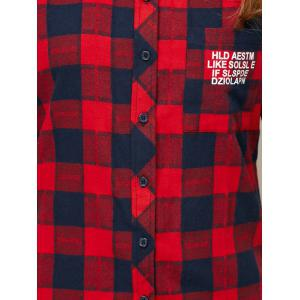 High-Low Letter Checked Shirt - RED L