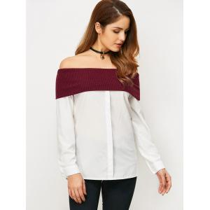 Off The Shoulder Knitting Panel Blouse -