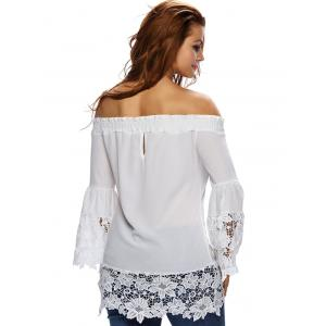 See-Through Off The Shoulder Blouse with Lace Trim -
