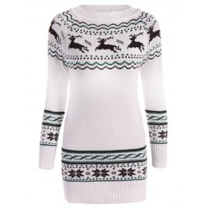 Christmas Reindeer Pattern Tunic Raglan Sleeve Sweater - White - One Size