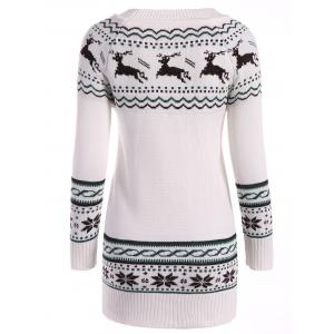 Christmas Reindeer Pattern Tunic Raglan Sleeve Sweater - WHITE ONE SIZE