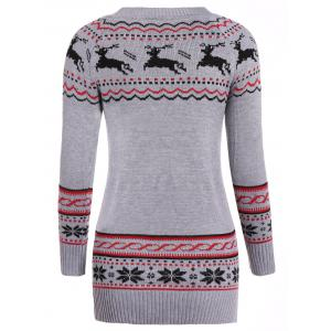 Christmas Reindeer Pattern Tunic Raglan Sleeve Sweater - GRAY ONE SIZE