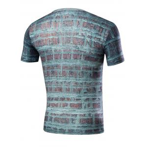 Crew Neck Short Sleeve Wall Graphic Tee - COLORMIX M