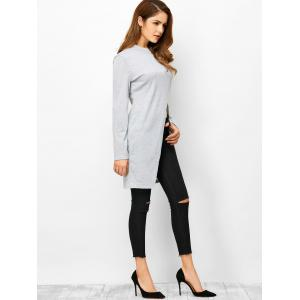 High Slit High Neck Fitting T-Shirt - LIGHT GRAY XL