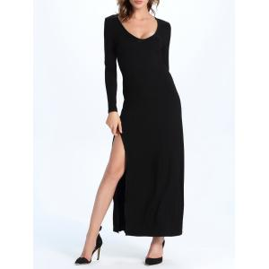 Maxi A Line Long Sleeve Slit Evening Dress