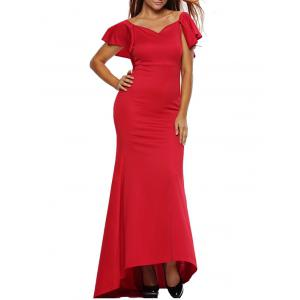 Short Sleeve Maxi Flounce Mermaid Sweetheart Party Prom Wedding Dress - Red - S