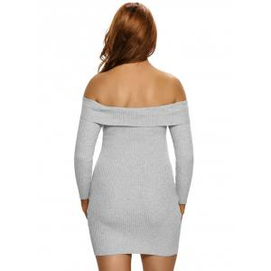 Ribbed Knit Off The Shoulder Long Sleeve Dress - GRAY L