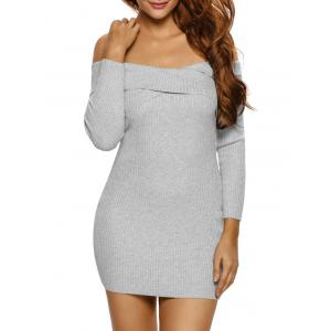Ribbed Knit Off The Shoulder Long Sleeve Dress