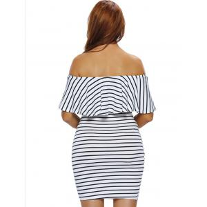 Off The Shoulder Flounce Striped Bodycon Dress - WHITE L