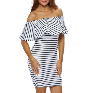 Off The Shoulder Flounce Striped Bodycon Dress